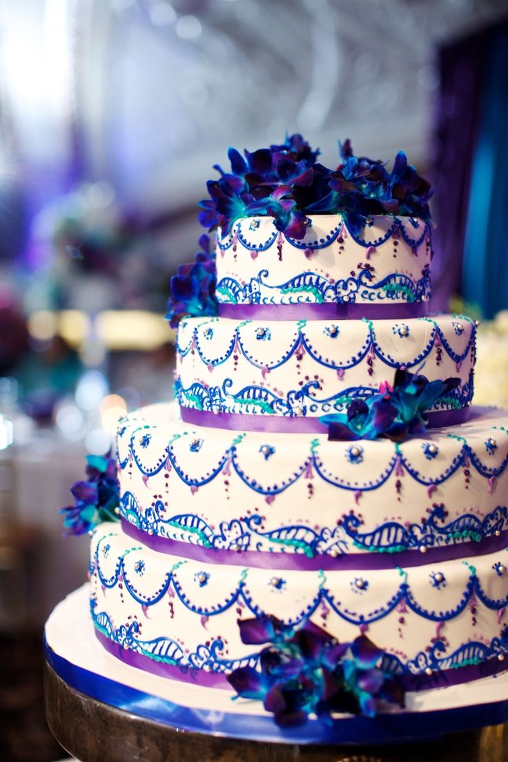Amazing And Intricate Wedding Cake Purple Turquoise Real Weddings Behind The Aisle
