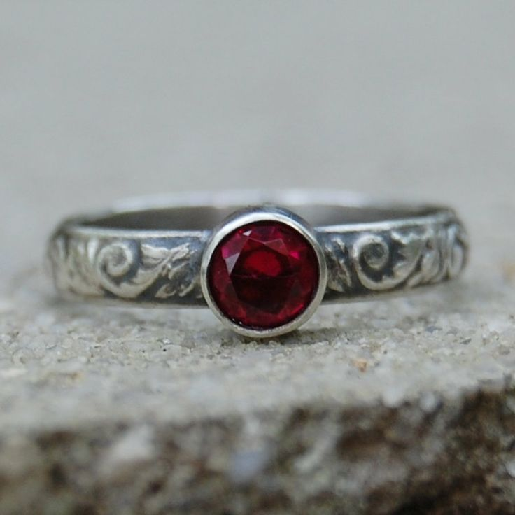 Ruby and Floral Sterling Silver Ring  Your Size by lovestrucksoul, $48.00