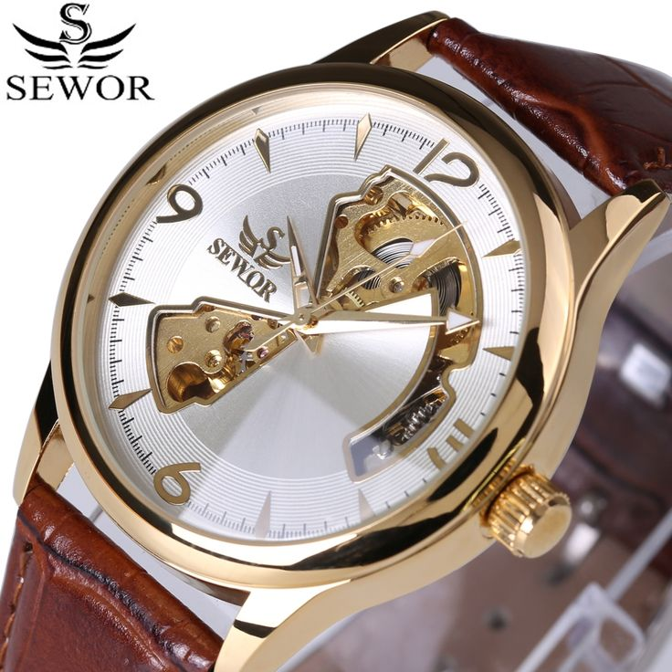 16.50$  Buy now - http://alic7q.shopchina.info/1/go.php?t=32788097091 - 2017 Fashion Design Watch Mens Automatic Mechanical Watch Genuine Leather Strap SEWOR Top Brand Skeleton Luxury Men Watches Box 16.50$ #magazine