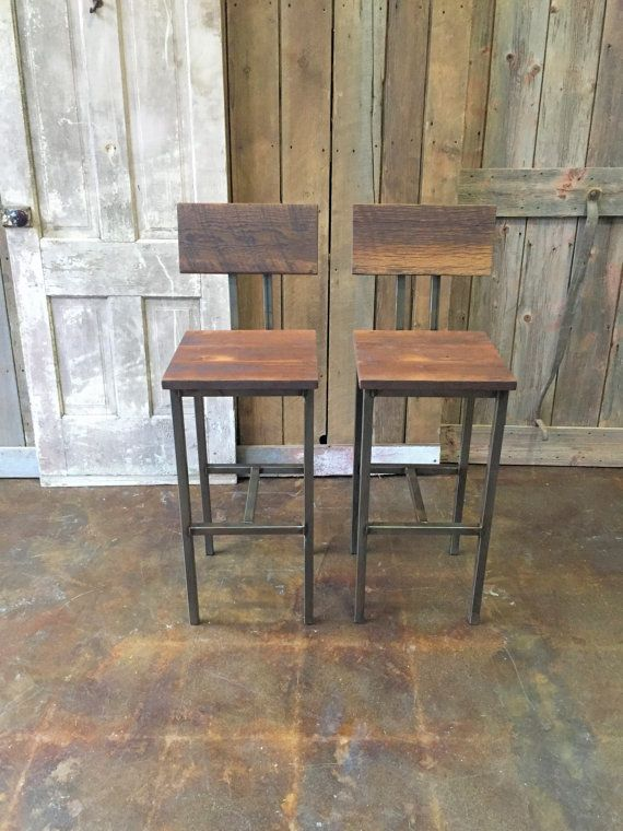 Reclaimed Wood Bar Stools, Industrial Stool, Reclaimed Barn Wood Stool With Hand Welded Steel Base and Eco-Friendly Finish - Set of 2 $495
