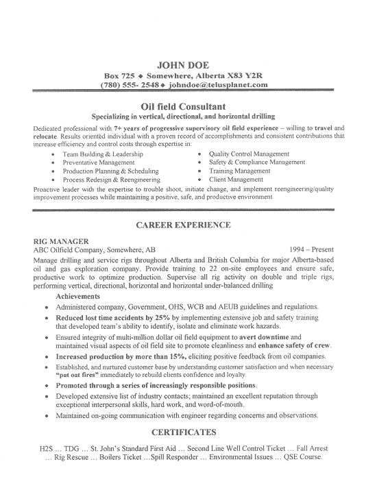Oil Field Consultant Resume Example Resume Examples Oil