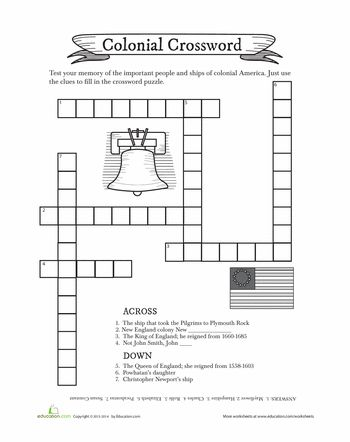 Worksheets: Colonial Crossword Puzzle
