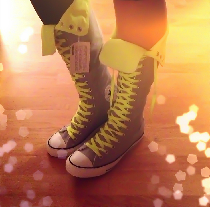 New neon yellow and gray knee high top #converse #chucktaylor