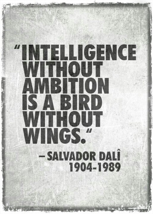 Intelligence without ambition is like a bird without wings. - Salvador Dali
