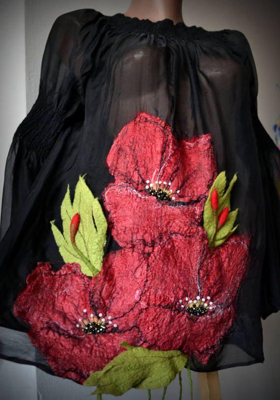 Felted silk blouse nuno felt clothing black silk merino by Gariana