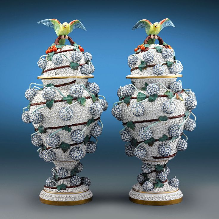 Snowball Porcelain Vases by Meissen