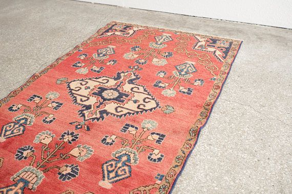 name: Farzana style: hand knotted, Persian, rug, carpet material: wool colors: red, pinks, mint, navy, gray, black, cream, brown age: vintage condition: good, age related wear 41 x 72 (closest standard rug size is 3.5x6)  Please see pictures for detailed condition. There are more photos of this product available on our website HomesteadSeattle.com  We ship nationwide. Please contact us if youd like a more exact or combined shipping quote.