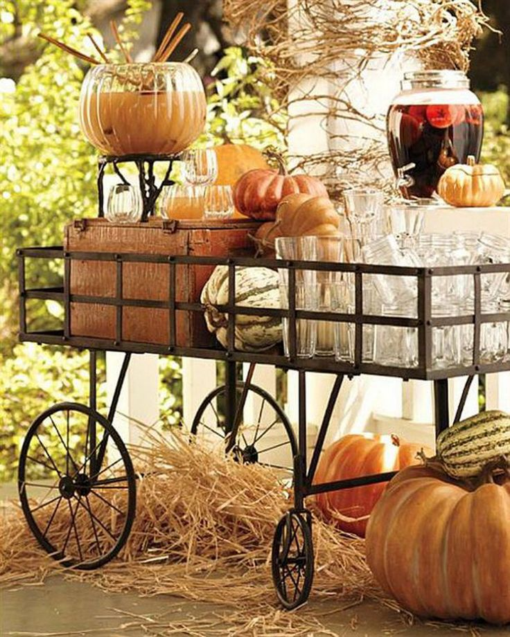 Fall beverage set up... could also use a rolling cart or a Little Red Wagon