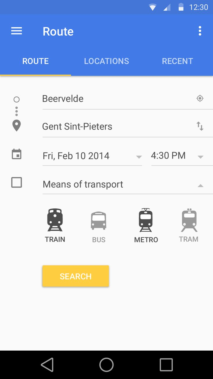 Route #mobile #UI Material Design