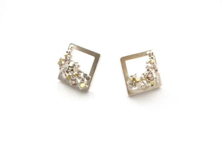 Speckle Earrings in Silver & 18ct Gold