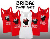 Disney Minnie Bride party set bridesmaid bridal bachelorette Tank wedding team bride Matching shirts Burnout Shirt Top razor cute Burnout