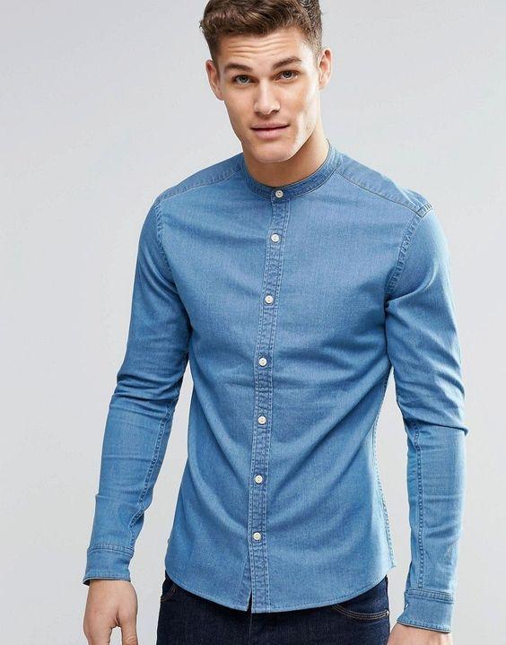 686a9a2e9cd ASOS Skinny Denim Shirt With Grandad Collar In Mid Wash - Blue ...