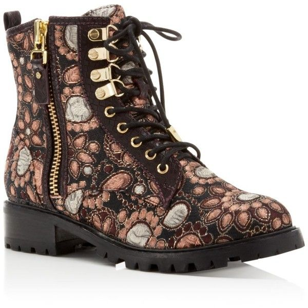 Alice + Olivia Tyrese Jacquard Combat Booties (660 CAD) ❤ liked on Polyvore featuring shoes, boots, ankle booties, grunge combat boots, flower print combat boots, grunge boots, flower print boots and floral boots