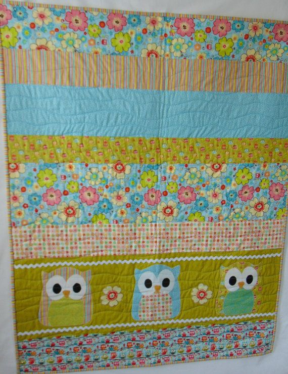 Owll-baby-quilt-boy-or-girl-quilt-green