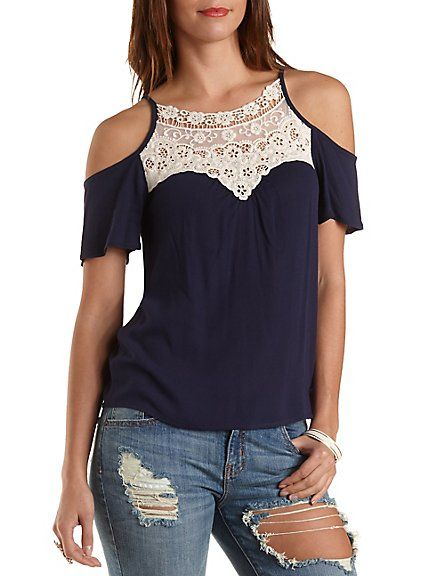 Crochet-Bib Cold Shoulder Swing Top: Charlotte Russe. #lace #offtheshoulder #top
