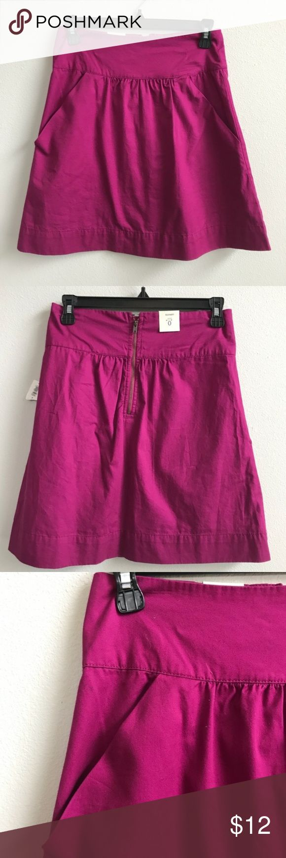 """Old Navy : NWT fuchsia skirt New with tags cotton skirt from Old Navy. Back zip, front pockets. 100% Cotton. Size 0. Approx 18"""" long, 13"""" across the waist No holds or trades. Bundle to save. Open to offers. B1 Old Navy Skirts"""