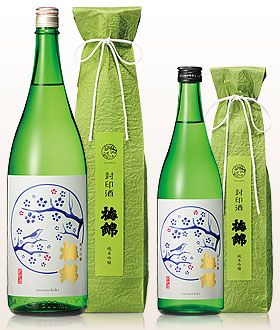 純米吟 梅錦 封印酒 We don't see a whole lot of green packaging so this is especially pretty. PD