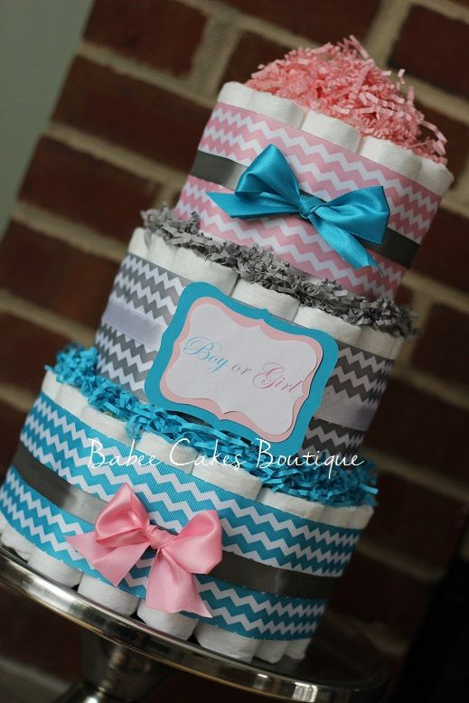 3 Tier Boy Or Girl Gender Reveal Party Cake By Babeecakesboutique
