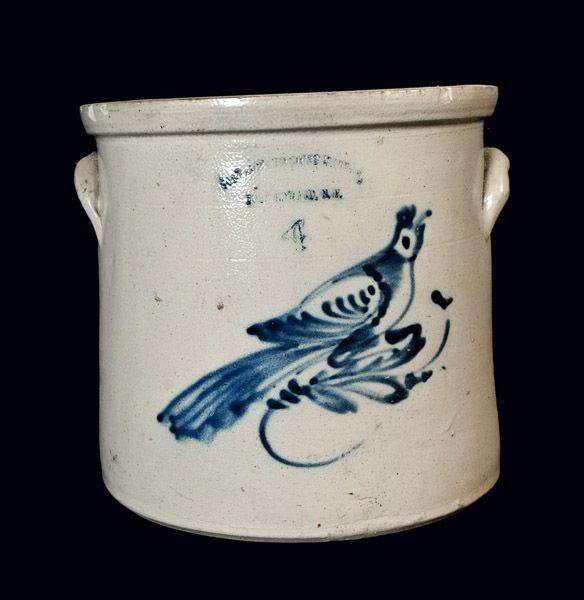FORT EDWARD, NY Stoneware Crock with Bird Decoration