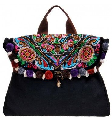 Miya Thailand Ethnic Embroidery Bag Black(Crescent Moon) - Miyafeeling.com