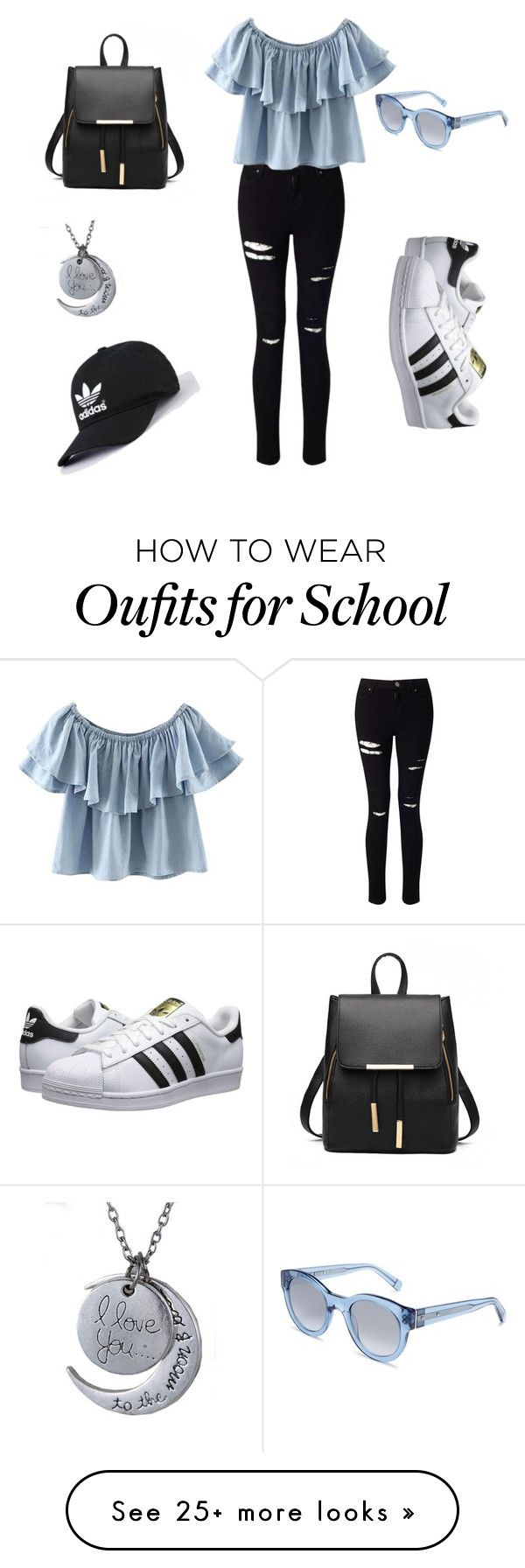 School Outfit ❤️ by maonenaisse on Polyvore featuring Miss Selfridge, Chicnova Fashion, adidas Originals and Bobbi Brown Cosmetics