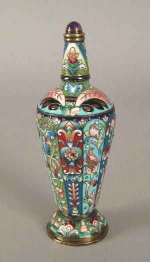 Russian Silver and Cloisonne Enamel Perfume Scent Bottle with cabochon ✿≻⊰❤⊱≺✿…