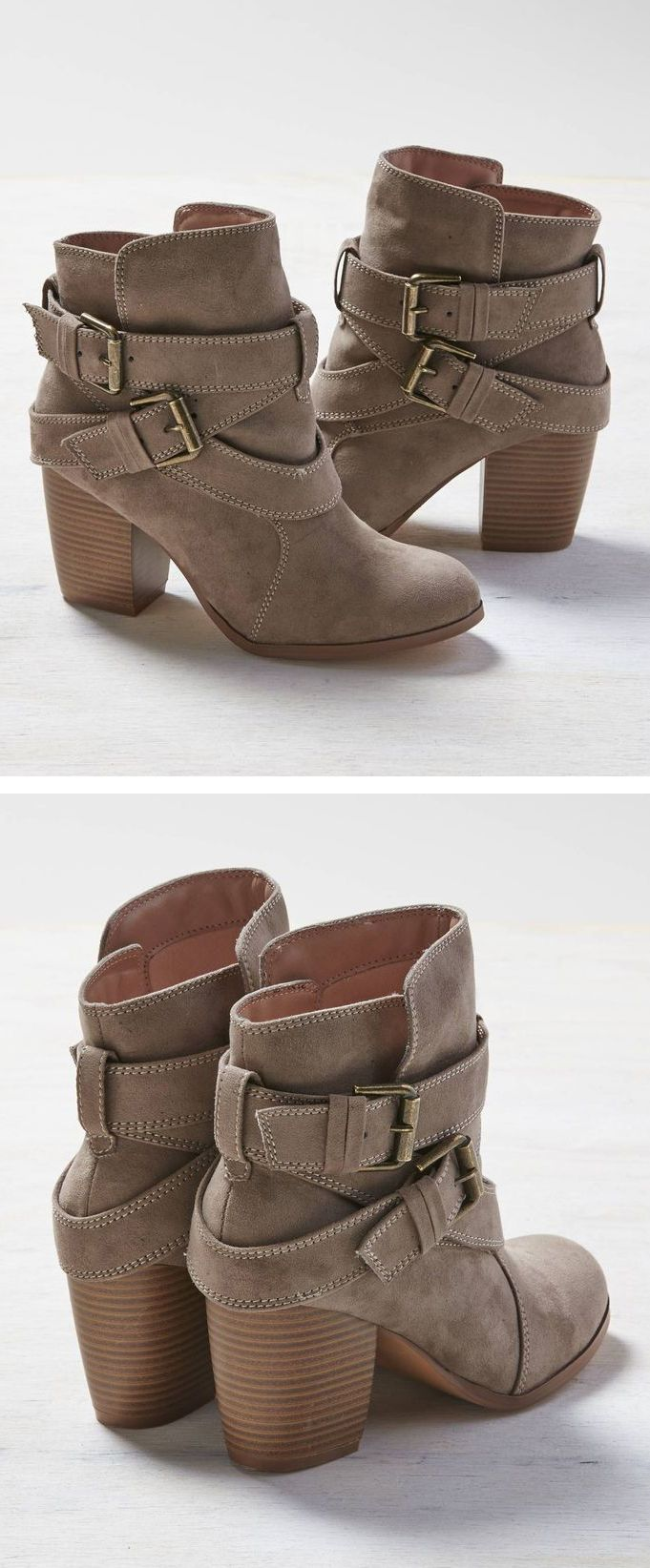 Taupe ankle booties.