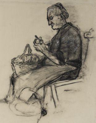 Old Woman Peeling Potatoes by Joan Eardley R.S.A.   Duncan R ...