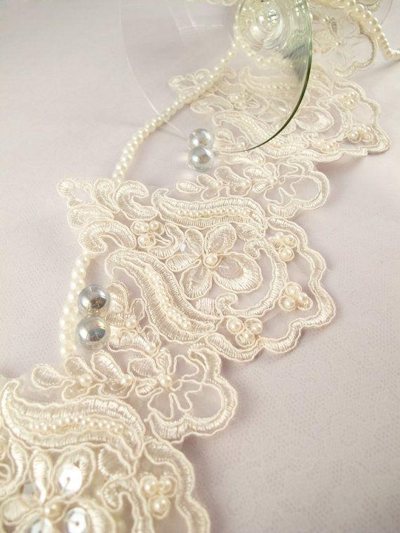 1 Yard Elegant Luxury White Wedding Lace Beaded Lace Bridal Bride's Dress Veil Lace Lace Trim 5 inches