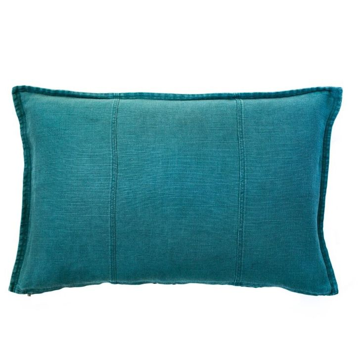 Washed Linen Rectangle Cushion Ocean