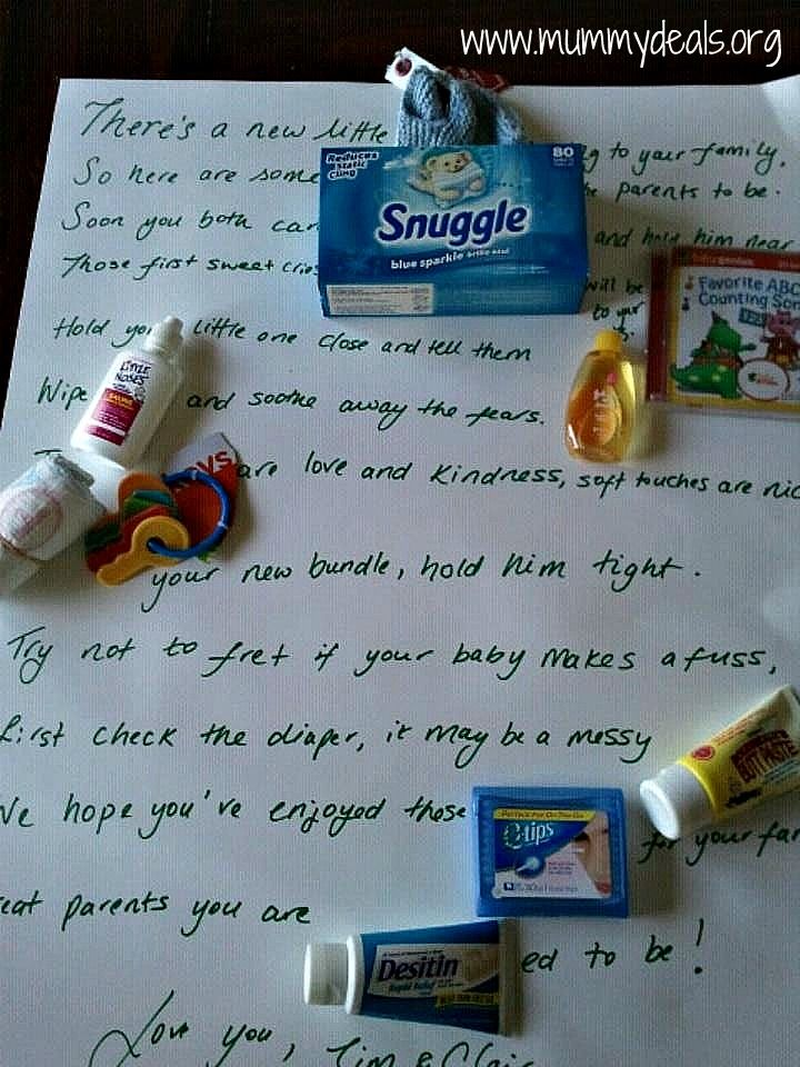 How To Make A Baby Shower Poem Gift.   I LOVE unique baby shower ideas especially homemade gifts which is why I came up with this Baby Shower Gift Poem. All you need is a few gifts and a piece of card and you can bring a fun gift to your next baby shower.