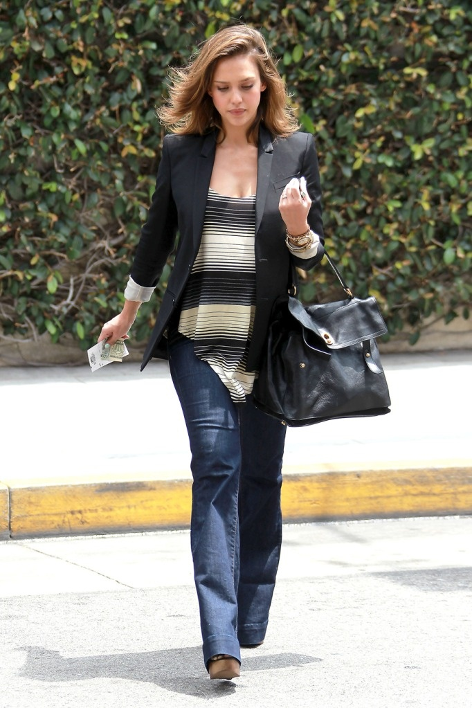 She has the best pregnancy style.  No leggings or baggy sweatshirts for this girl.