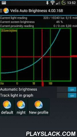 Velis Auto Brightness  Android App - playslack.com ,  Usage manual & FAQ: http://velisthoughts.blogspot.com/2012/10/velis-auto-brightness-manual.htmlXDA thread: http://forum.xda-developers.com/showthread.php?t=1910521e-mail: jure.erznoznik@gmail.comNote: Notification is mandatory for this app because without it Android will stop the service too often for too long. There's no use in auto brightness if it doesn't work half the time. So before you give a one star review, consider this fact…