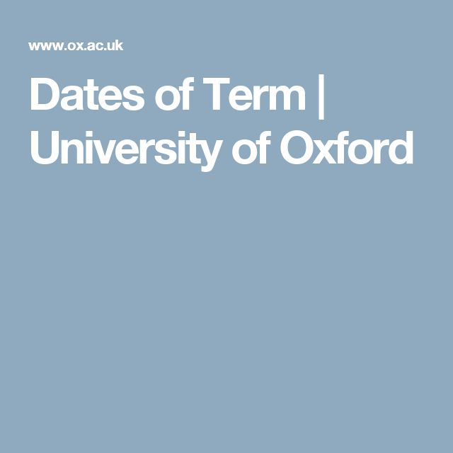 Dates of Term | University of Oxford
