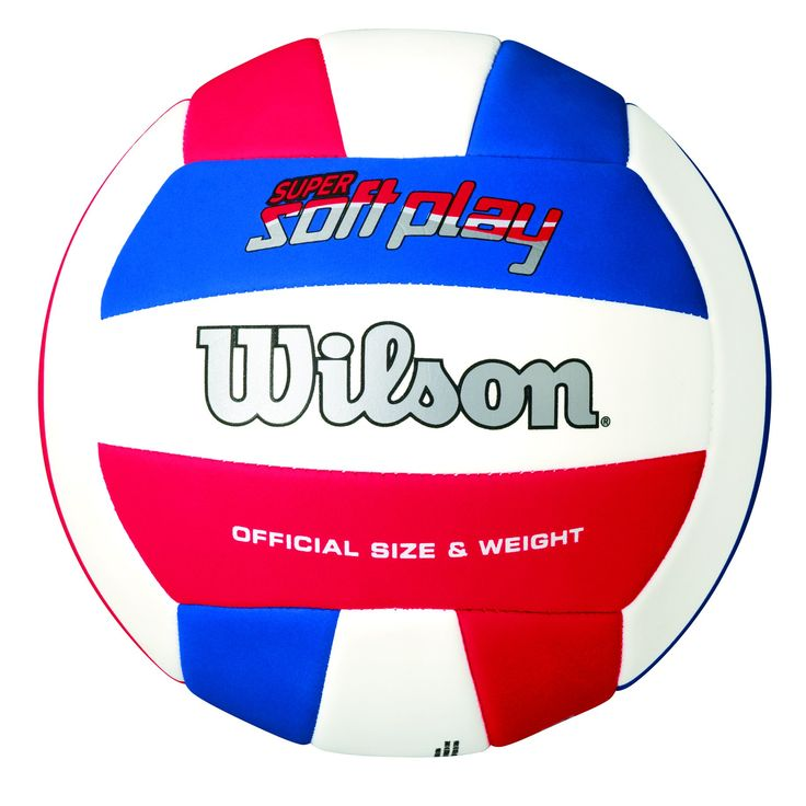 Wilson Super Soft Play Volleyball Red/White/Blue. New, improved Super soft play product logo. Machine-sewn soft construction with super-soft, synthetic EVA material. Sponge-backed cover for a super-soft feel. 18-Panel, machine-sewn construction for enhanced durability. Butyl rubber bladder for extended Air Retention. Sponge backed synthetic leather cover for a soft feel. 18-panel machine sewn construction and contains a butyl rubber bladder. Contains a butyl rubber bladder.