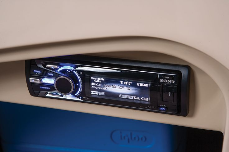 In-console Bluetooth®-capable AM/FM stereo w/dash-mounted remote & 4 strategically located speakers for optimal sound throughout http://www.exclusiveautomarine.com/product/party-barge-254-xp3