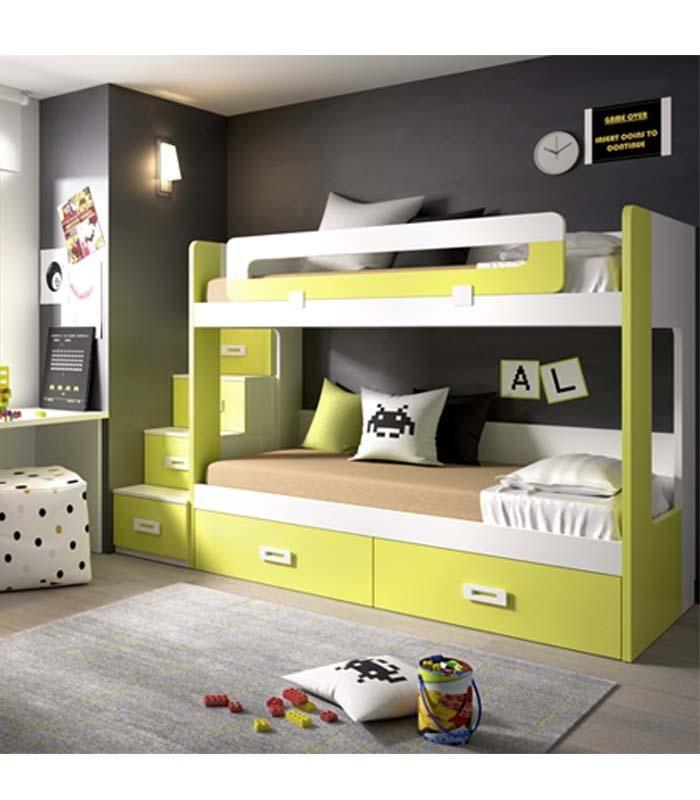 Modern Childrenu0027s Bunk Bed u0026 Desk with