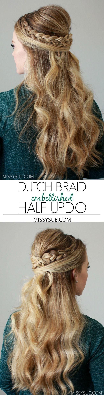 Dutch Braid Embellished Half Updo