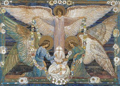Ann Macbeth (1875-1948):  'Angels': Glasgow Artists, Glasgow Schools, Angel Wings, Macbeth 18751948, Angel Garlands, Macbeth 1875 1948, Angel Goddesses, Anne Macbeth, Infants Christ