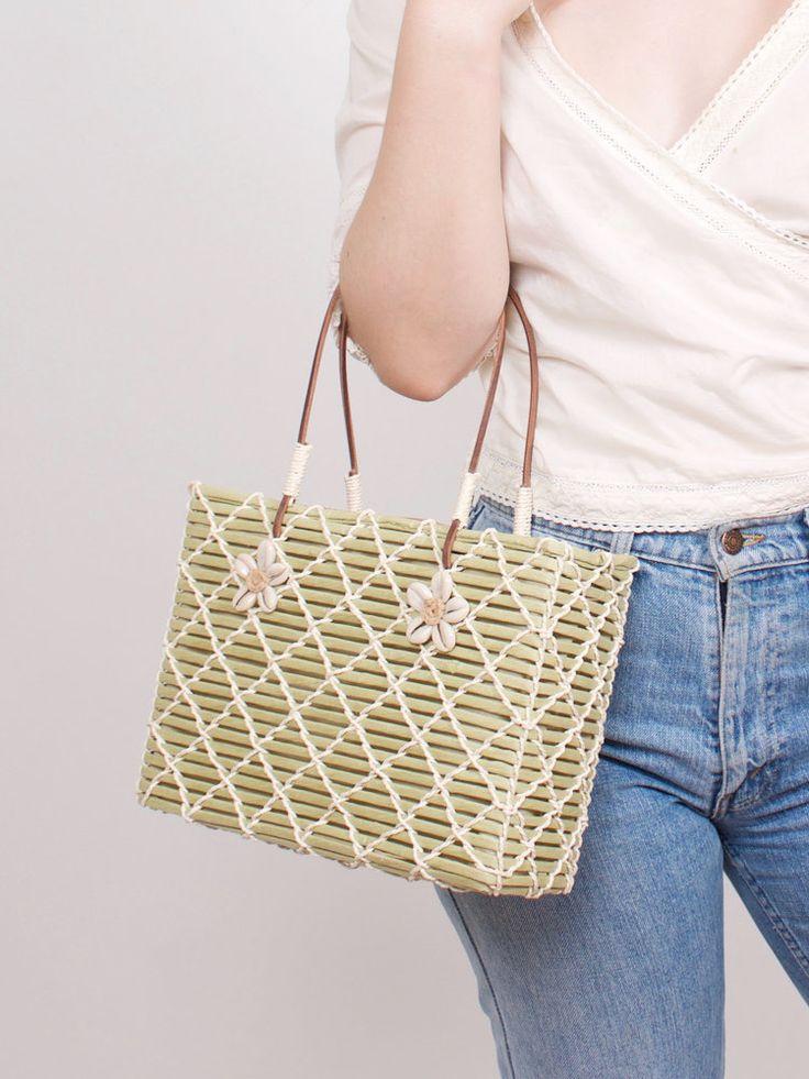 Vintage Pistachio Green Woven Handbag With Shell Detail