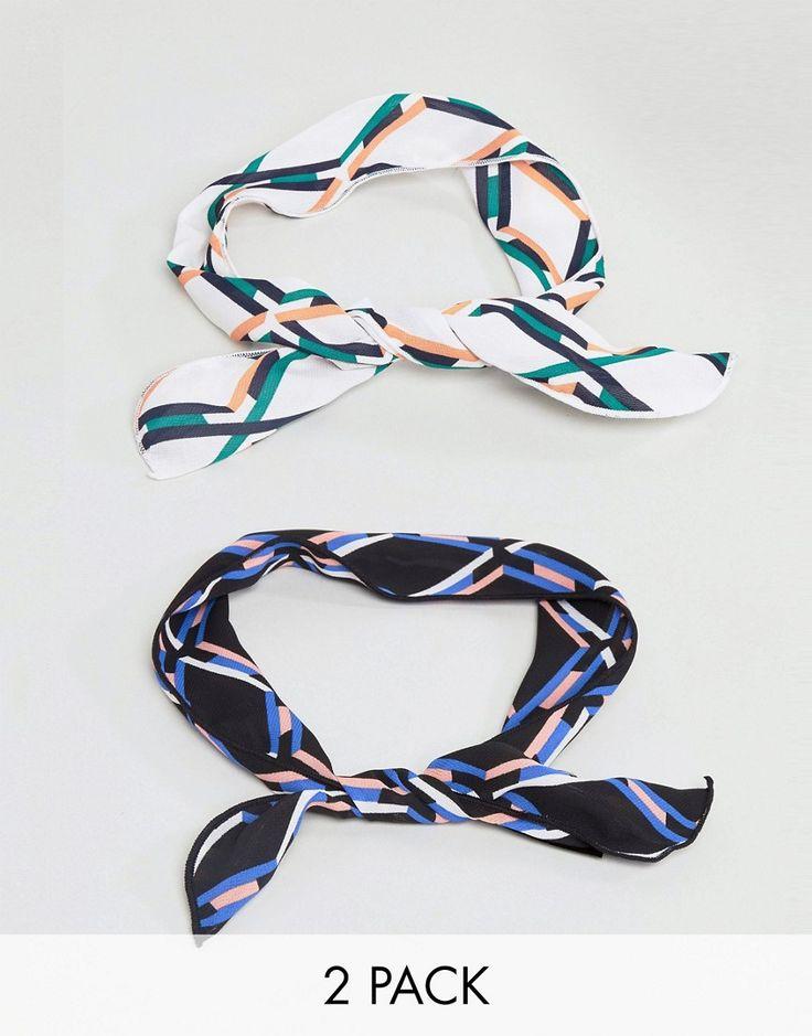 ASOS Pack of 2 Printed Wire Twist Tie Headbands - Multi