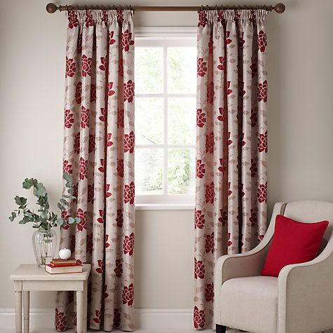 John Lewis Lucia Pencil Pleat Lined Curtains Pair Red 163