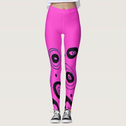 Designers pink black circles Leggings