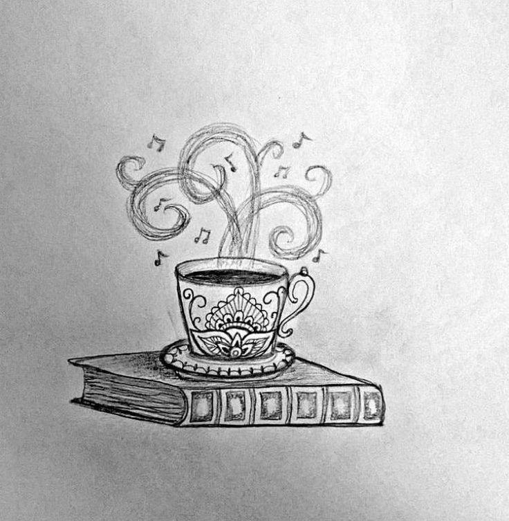 modèle de tatouage - tasse de café et notes sur un livre