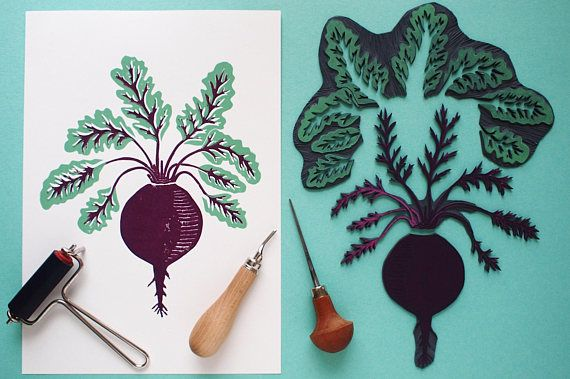 Back to the Beetroot  Original Handprint  Limited Edition