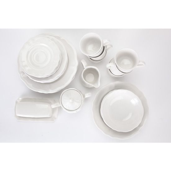 Federalist Ironstone White Dish Set of 6 from GloCoCo for SCi - #Federalist #Ironstone #White #Dish Set includes six large #plates, six medium plates, six small plates, six #cups, six #bowls, one serving bowl, one #butterdish, and one #creamer. #huntersalley #onekingslane #vintage #citycollections #lovewhereyoulive