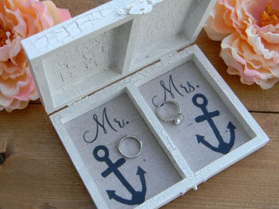 Nautical Ring Bearer Box Personalized Divided Wood Box Anchor Ringbearer In high tide or in low tide I'll be by your side. by justfokeeps