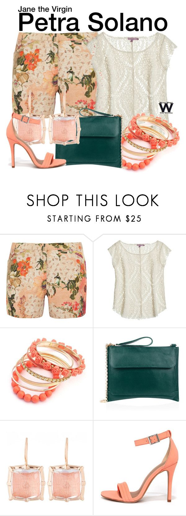 """""""Jane the Virgin"""" by wearwhatyouwatch ❤ liked on Polyvore featuring Tory Burch, Calypso St. Barth, Oasis, Larkspur & Hawk, Shoe Republic LA, wearwhatyouwatch and film"""