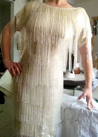 Great Gatsby Themed Formal Cream Sequin Dress with by BraidedWood, $248.00