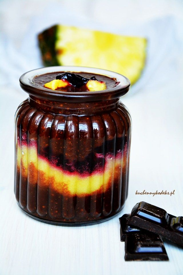 Chia chocolate pudding with pineapple mousse